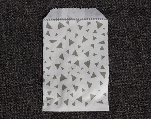 grey and white triangle printed modern mini paper candy, treat, or gift party bags