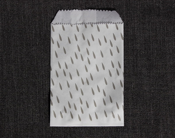 grey and white raindrop print modern mini paper candy, treat, or gift party bags
