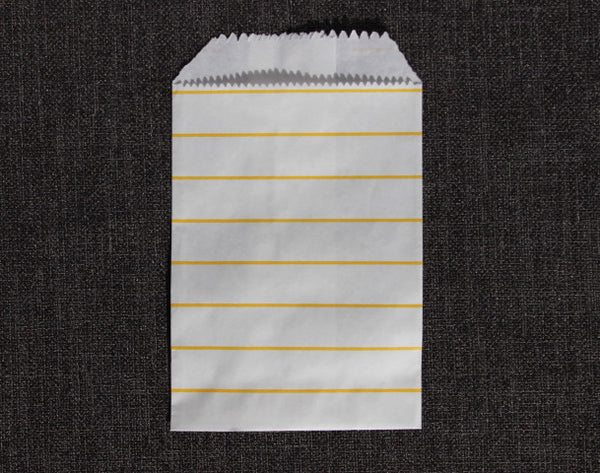 yellow and white striped modern mini paper candy, treat, or gift party bags