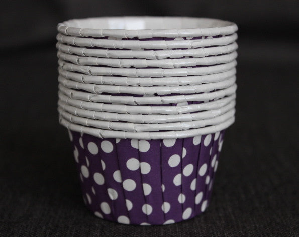 purple and white polka dot nut cups or cupcake liners party supplies