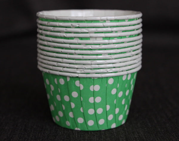 green and white polka dot nut cups or cupcake liners party supplies