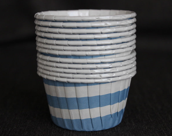 baby blue and white striped nut cups or cupcake liners for baby shower
