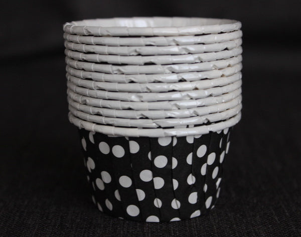 black and white polka dot nut cups or cupcake liners party supplies