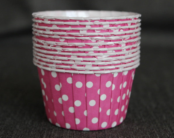 hot pink and white polka dot nut cups or cupcake liners party supplies