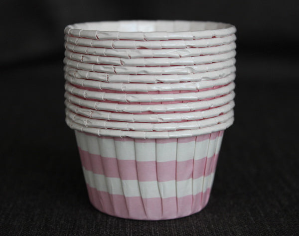 pink and white striped nut cups or cupcake liners for baby shower