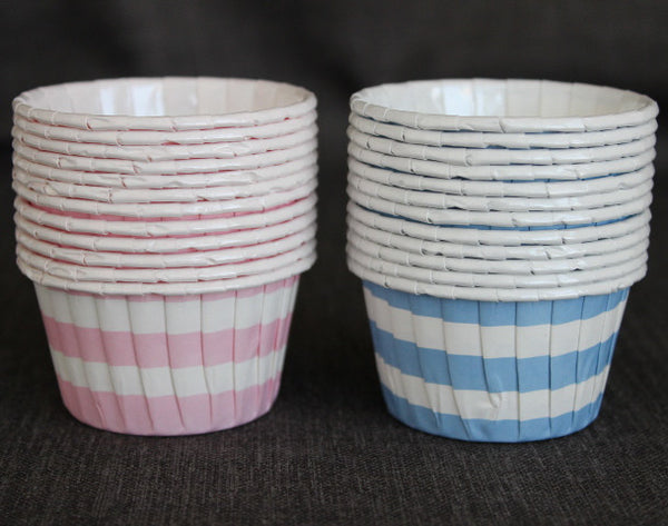 pink and baby blue striped nut cups or cupcake liners for baby shower