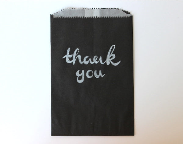 black glassine lined paper candy, treat, or gift bags chalkboard