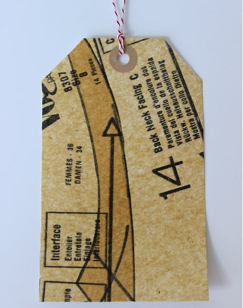 fashion pattern collaged gift tags with striped bakers twine