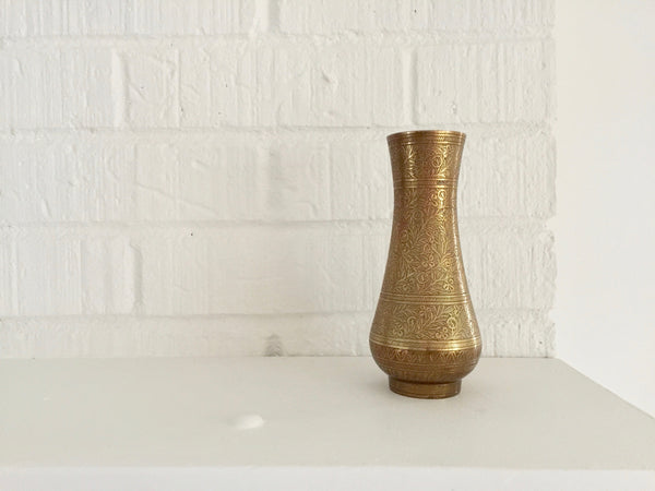 etched brass vintage foliage vase