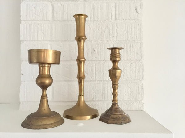 geometric brass vintage candlestick holder
