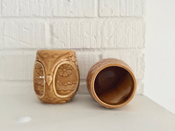 set of 2 vintage 1960's Japanese owl mugs