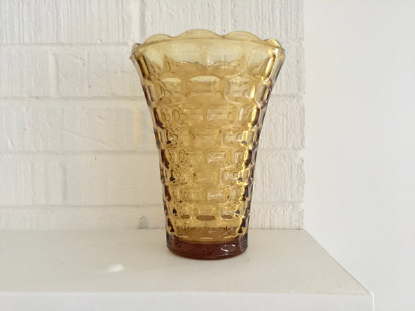 mustard yellow glass basketweave vase