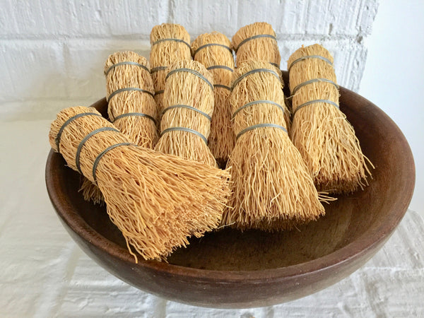 handmade natural fiber root brush scrubber