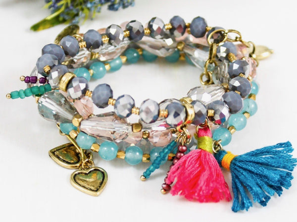 grey, turquoise, and pink multi-strand bohemian charm bracelet with tassels