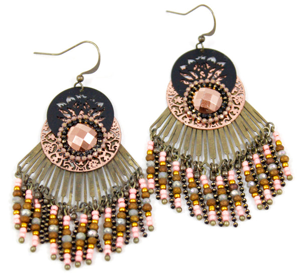 blush fringe chandelier earrings