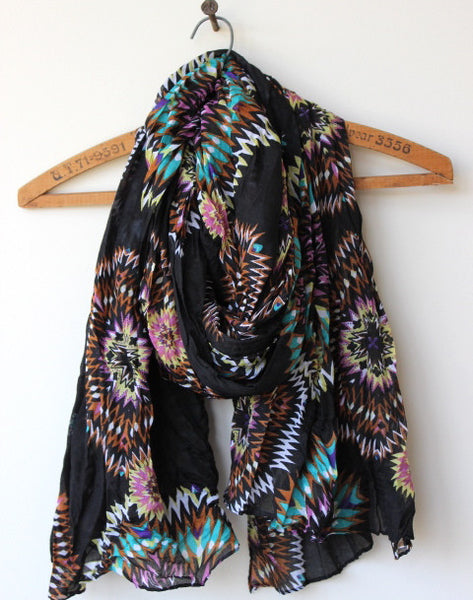 multi-colored fireworks lightweight fashion scarf