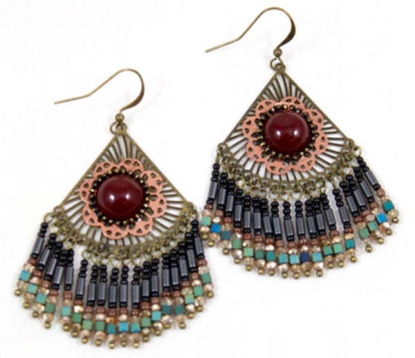 antique gold fringe chandelier earrings