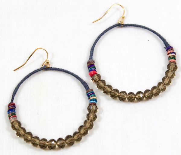 slate grey thread wrapped hoop earrings