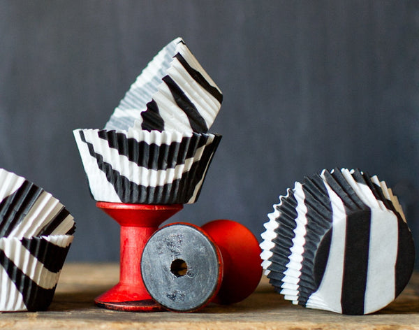 black and white zebra animal print paper cupcake liners for party supplies
