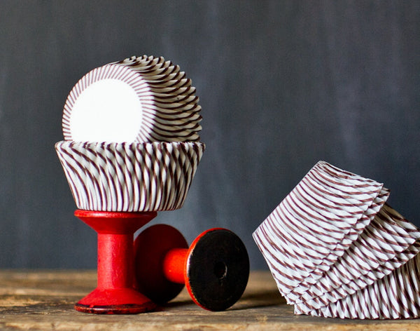 brown and white striped paper cupcake liners party supplies