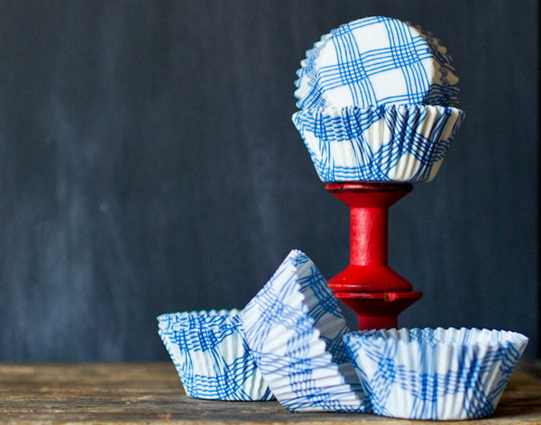 baby blue and white plaid cupcake liners for baby shower party supplies