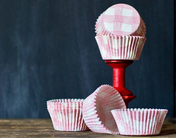 light pink and white plaid cupcake liners for baby shower party supplies