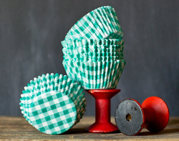 green and white gingham paper cupcake liners for a St.Patrick's Day