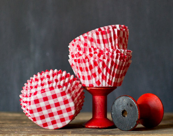 red and white gingham paper cupcake liners for a cowboy party
