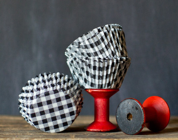 black and white gingham paper cupcake liners for Halloween