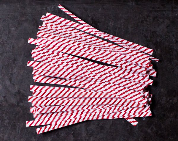 red and white striped 4 inch wired twist ties