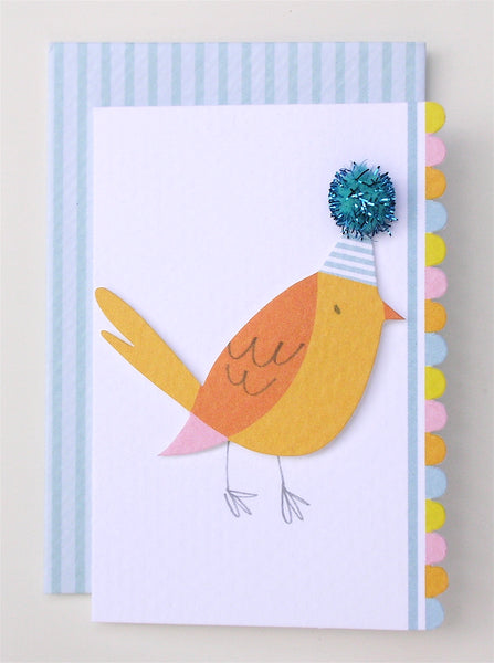 bird with party hat enclosure card and envelope