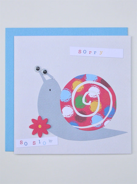 """sorry so slow"" snail belated birthday card and envelope"