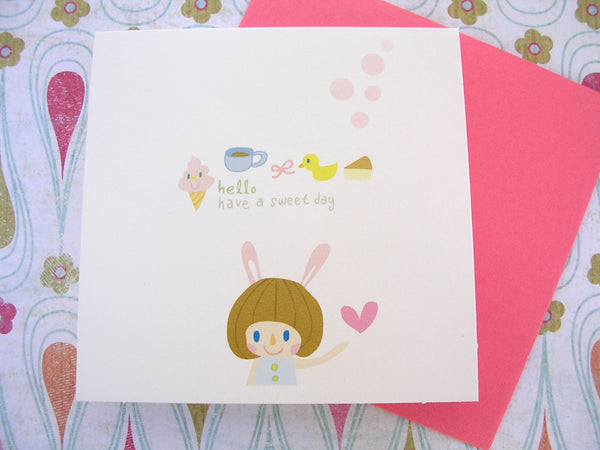 hello have a sweet day mini card and envelope