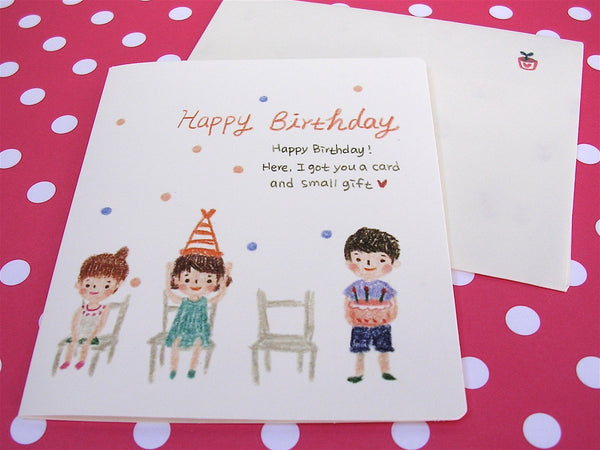 child's drawing happy birthday mini card and envelope