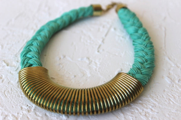 turquoise braided collar necklace with metal trim