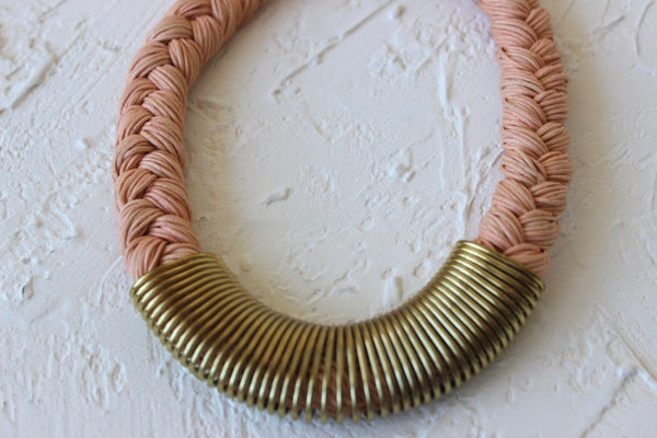 peach braided collar necklace with metal trim