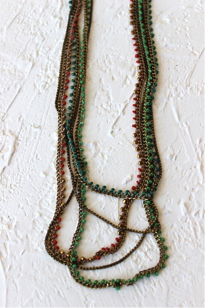 beaded and knotted long layering neckalce