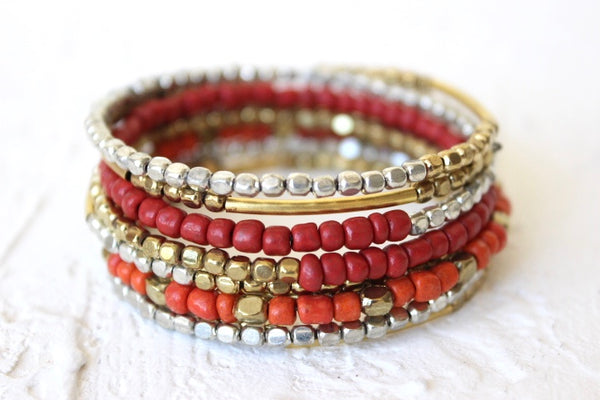 coral metallic beaded coil bracelet