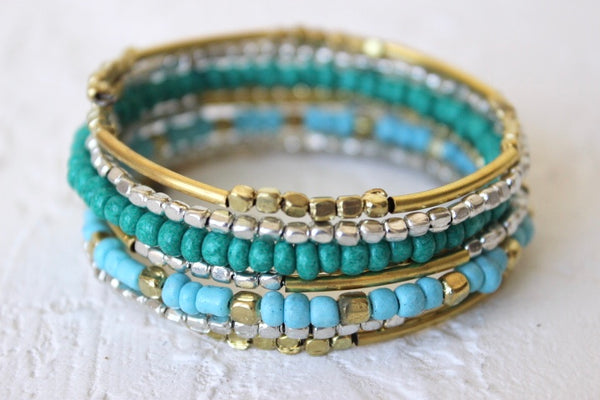 turquoise metallic beaded coil bracelet