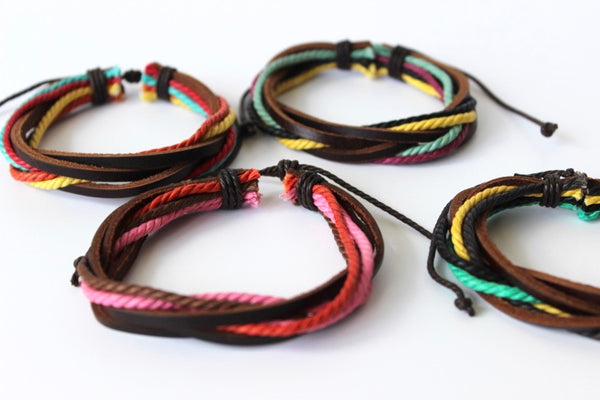 colorful rope and brown leather wrap bracelet
