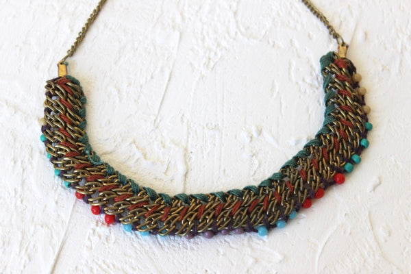 beaded and knotted neckalce