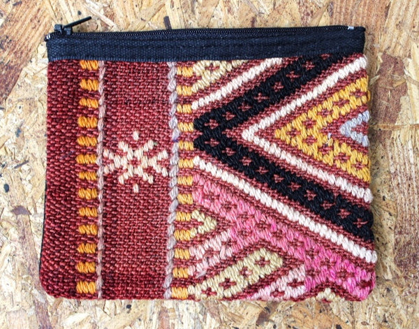 vintage kilim one of a kind bohemian small zippered pouch