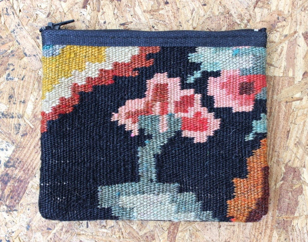 vintage kilim zippered pouch