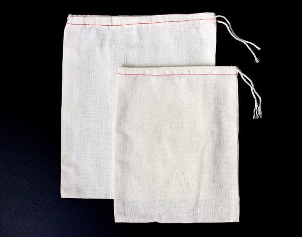 cotton muslin drawstring parts bags with red stitching