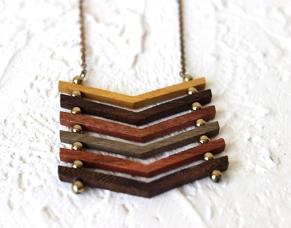 wood and antique gold chevron neckalce