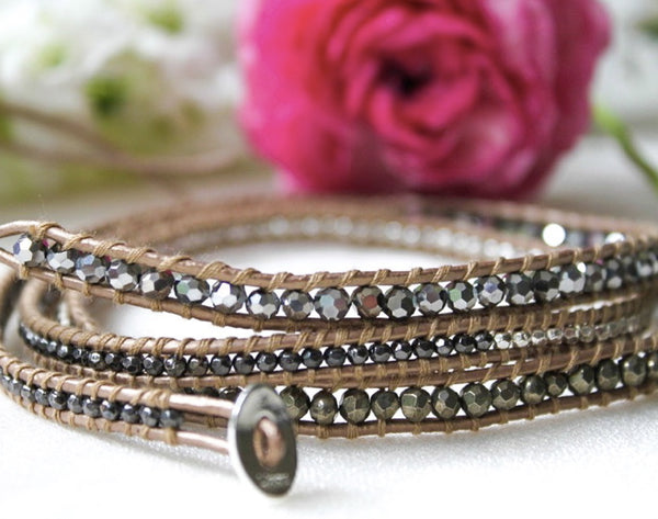 gunmetal and silver beaded 5 wrap bracelet