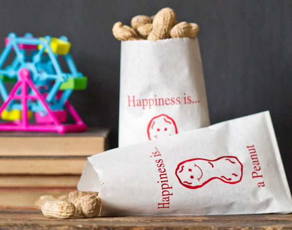 24 happiness is a peanut printed paper bags