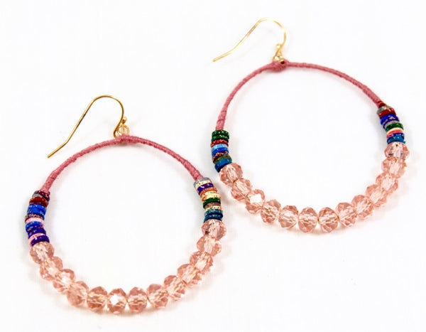 pink thread wrapped hoop earrings