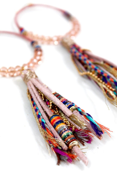 bohemian pink thread wrapped beaded hoop statement earrings with tassels