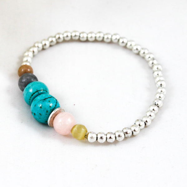 silver and turquoise single strand bracelet